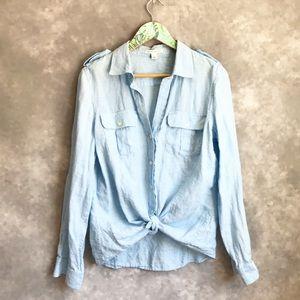 Banana Republic Blue 100% Linen Button Down Shirt